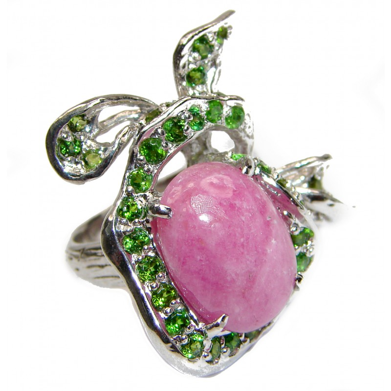Authentic Rhodochrosite Chrome Diopside .925 Sterling Silver handmade ring size 9