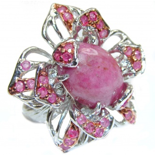 Huge Authentic Rhodochrosite Ruby .925 Sterling Silver handmade ring size 9 1/4
