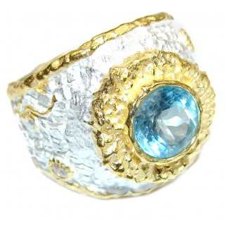 Energazing Swiss Blue Topaz 14K Gold over .925 Sterling Silver handmade Ring size 9