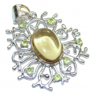 Royal quality genuine Citrine Peridot .925 Sterling Silver handcrafted Pendant