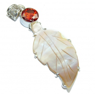 Long Great Blister Pearl .925 Sterling Silver handcrafted pendant
