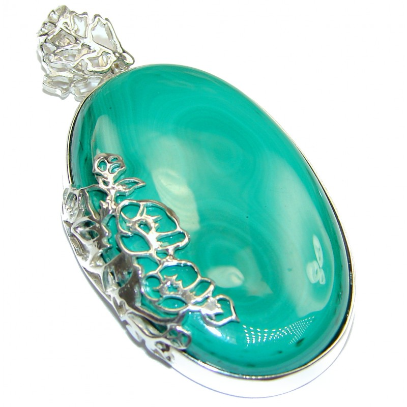 LARGE 27.8 grams Top Quality Malachite Oxidized .925 Sterling Silver handmade Pendant