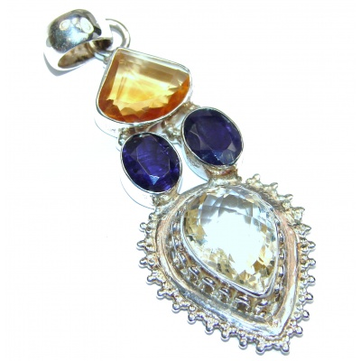 Great quality genuine Citrine .925 Sterling Silver handcrafted Pendant