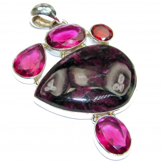 Fantistic Genuine Russian Eudialyte .925 Sterling Silver handcrafted Pendant