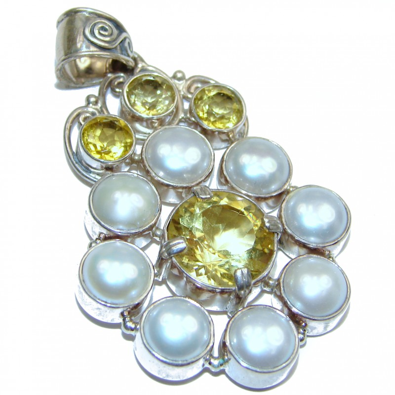 White Fresh Water Pearl & Citrine .925 Sterling Silver handcrafted pendant