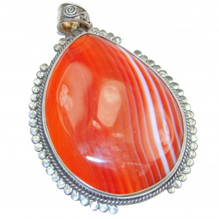LARGE Beautiful authentic Carnelian .925 Sterling Silver handmade Pendant