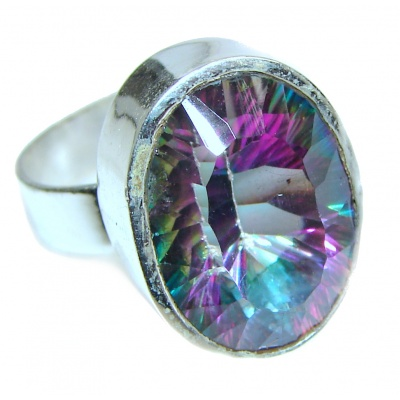 Exotic Magic Topaz .925 Sterling Silver handcrafted Ring s. 9