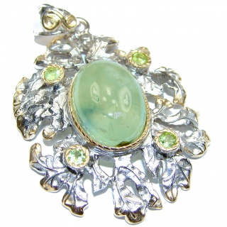 Beautiful genuine Prehnite 18K Gold over .925 Sterling Silver handcrafted Pendant