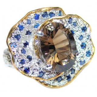 Stunning design Authentic Smoky Topaz 18K Gold over .925 Sterling Silver handcrafted Cocktail ring; s. 7