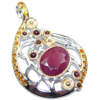 Spectacular Genuine Ruby 18K Gold over .925 Sterling Silver handmade Pendant