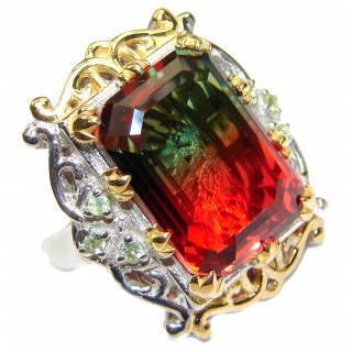 HUGE Emerald cut Watermelon Tourmaline color Topaz 18 K Gold over .925 Sterling Silver handcrafted Ring s. 7