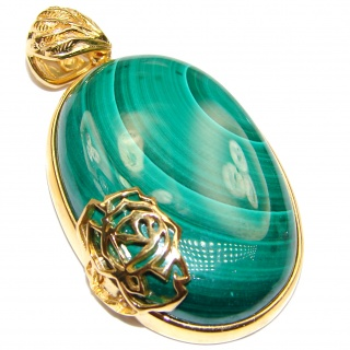 Top Quality Malachite 18K Gold over .925 Sterling Silver handmade Pendant
