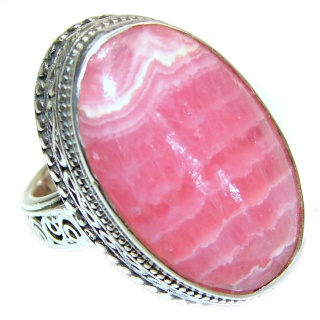 Argentinian Rhodochrosite .925 Sterling Silver handmade ring size 7 1/4