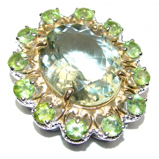 Spectacular Green Amethyst 18K Gold over .925 Sterling Silver handcrafted pendant