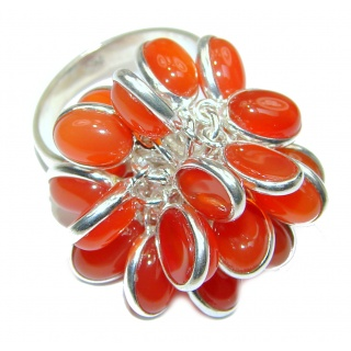 Fashion Beauty Carnelian Sterling Silver cha -cha Ring s. 8 adjustable