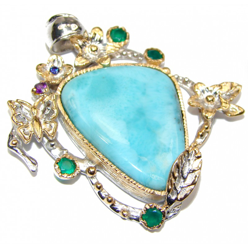 Vintage Style Authentic Caribbean Larimar 18K Gold over .925 Sterling Silver handmade pendant