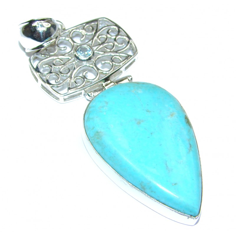 Exquisite Sleeping Beauty Turquoise .925 Sterling Silver handmade Pendant
