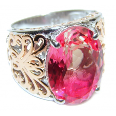 Huge Top Quality Volcanic Pink Tourmaline 18K Gold over .925 Sterling Silver handcrafted Ring s. 7