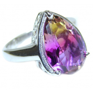 Genuine 25ct Ametrine .925 Sterling Silver handcrafted ring; s. 6 3/4