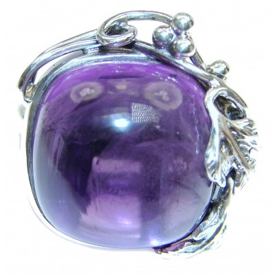Large Spectacular genuine Amethyst .925 Sterling Silver handcrafted Ring size 7 adjustable