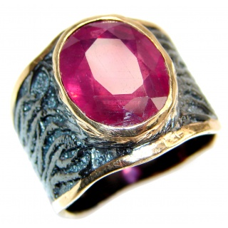 Large genuine Ruby 18K Gold over .925 Sterling Silver Statement Italy made ring; s. 7 3/4