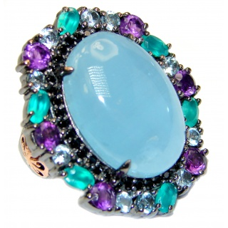Natural HUGE 65ct Aquamarine Emerald Black Rhodium over .925 Sterling Silver handcrafted Ring s. 8