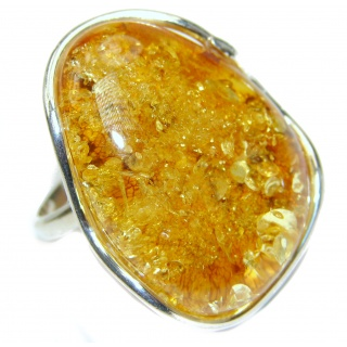 Large Genuine Baltic Amber .925 Sterling Silver handmade Ring size 7 adjustable