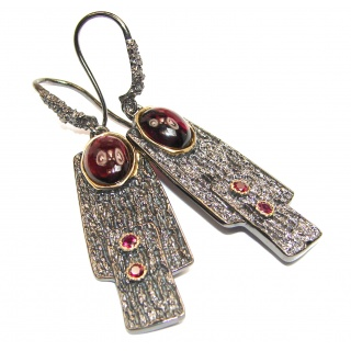Unique NATURAL Garnet 18K Gold Rhodium over .925 Sterling Silver handmade earrings