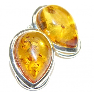 Authentic Baltic Amber .925 Sterling Silver handcrafted Earrings
