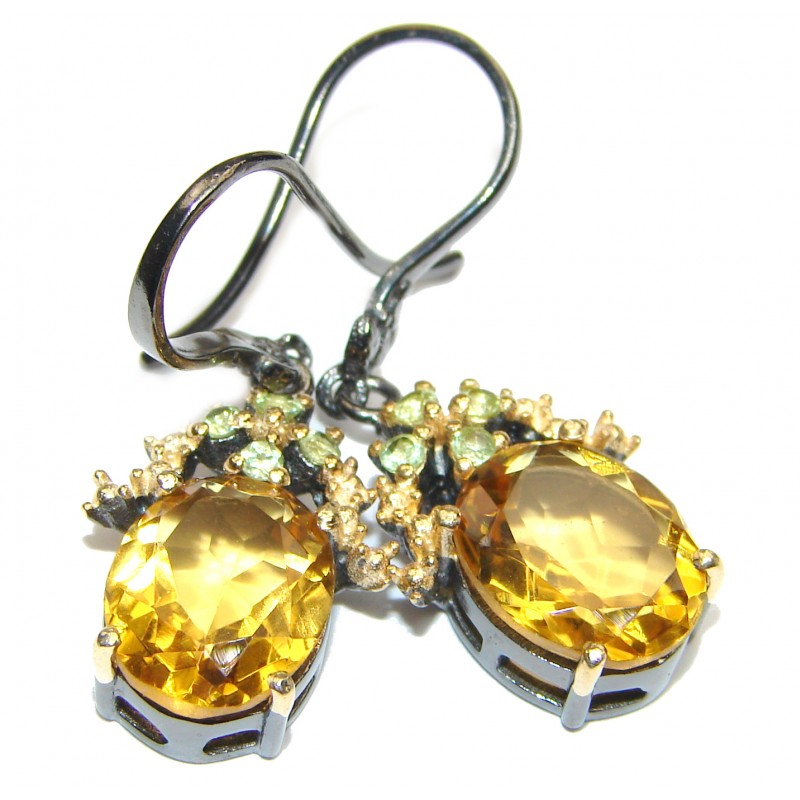 Juicy Vintage Style Authentic Citrine .925 Sterling Silver handmade earrings