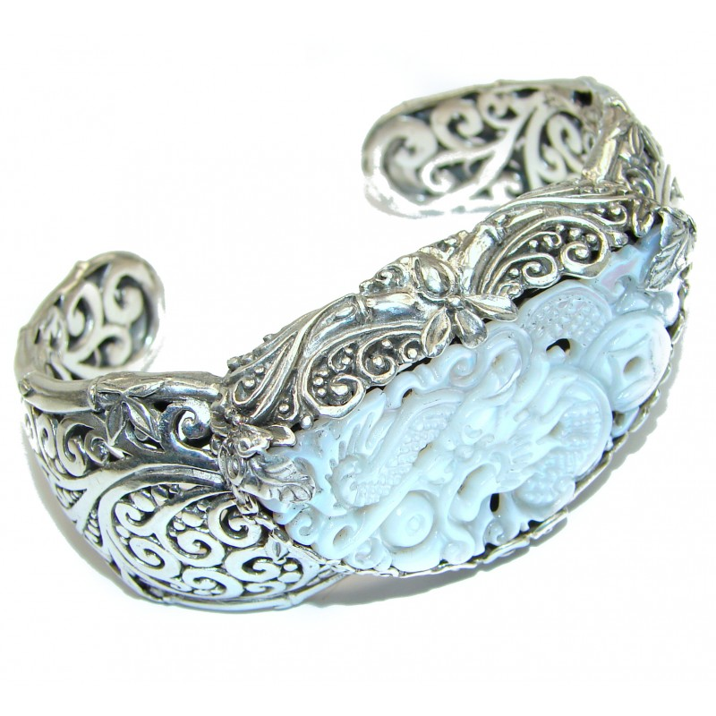Beautiful authentic carved Blister Pearl .925 Sterling Silver Bali Made Bracelet / Cuff