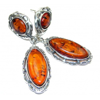 Back to Nature Authentic Amber .925 Sterling Silver handmade earrings
