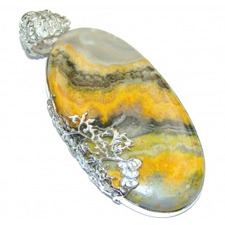 Huge 25.5 grams Authentic Volcanic Bubble Bee Jasper oxidized .925 Sterling Silver handmade Pendant