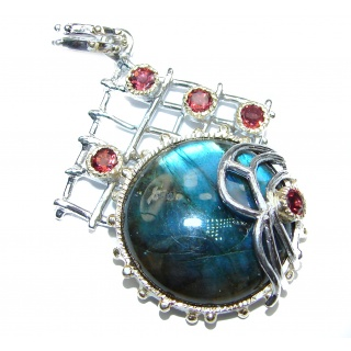 Blue Fire Labradorite Garnet Rose 18K Gold over Gold over .925 Sterling Silver Pendant