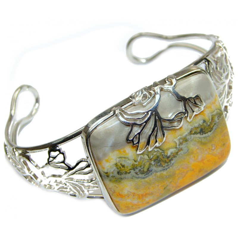 Genuine Volcanic Bumble Bee Jasper .925 Sterling Silver handcrafted Bracelet / Cuff