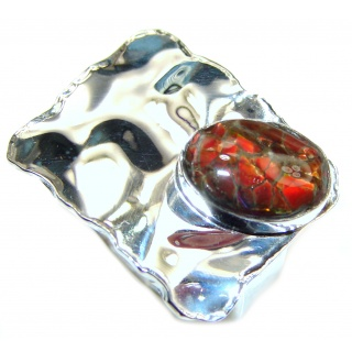 Pure Energy Fire Genuine Canadian Ammolite .925 Sterling Silver handmade ring size 7 1/4