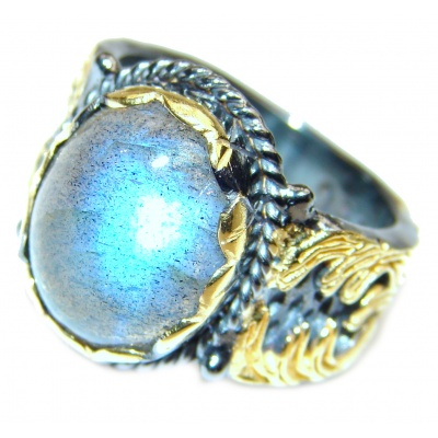 Regal Infinity Labradorite 14K Gold over .925 Sterling Silver Bali handmade ring size 7
