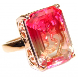 Genuine 25ct Pink Tourmaline color Topaz Rose Gold over .925 Sterling Silver handcrafted ring; s. 7 1/2