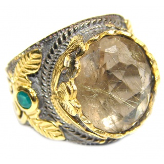 Vintage Style 32ct Natural Citrine 18ct Gold over .925 Sterling Silver handcrafted Ring s. 7