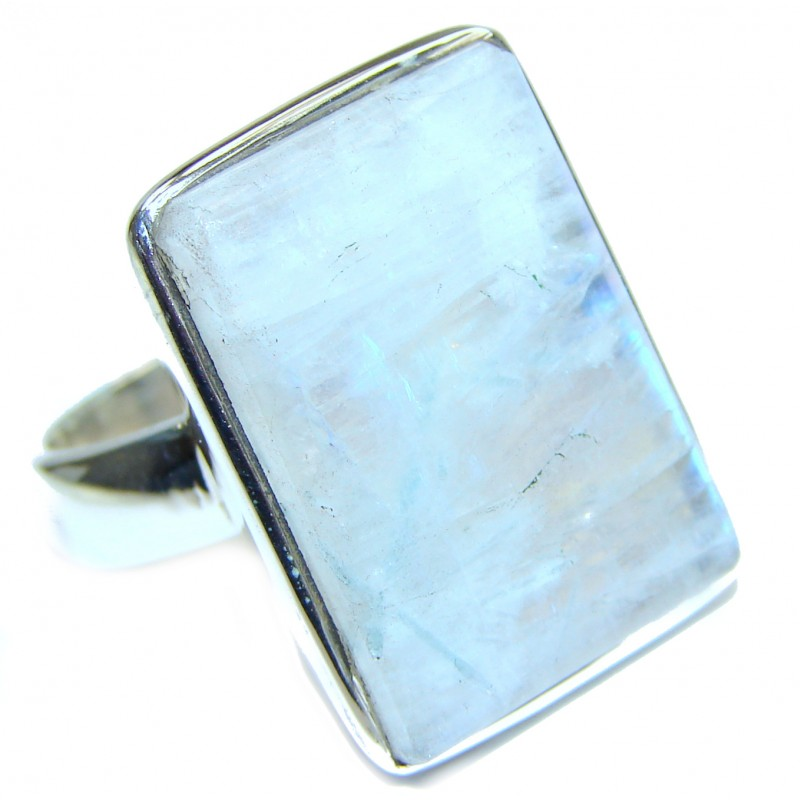 Fire Moonstone .925 Sterling Silver handmade Ring size 8 1/2