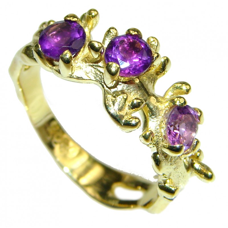Purple Reef Amethyst 14K Gold over .925 Sterling Silver Ring size 6