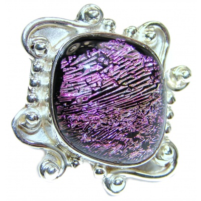 Dichroic Glass .925 Sterling Silver handcrafted Ring s. 9