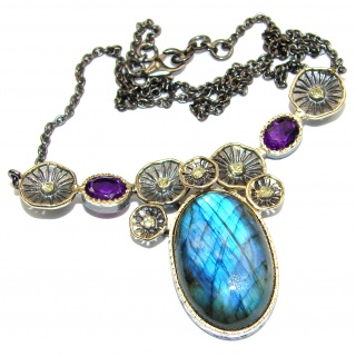 Chunky Cascade of Lights Labradorite 14k Gold over .925 Sterling Silver entirely handcrafted necklace