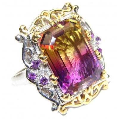 HUGE Emerald cut Ametrine 18K Gold over .925 Sterling Silver handcrafted Ring s. 9 1/4