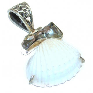 Fossilized Shell .925 Sterling Silver handmade pendant