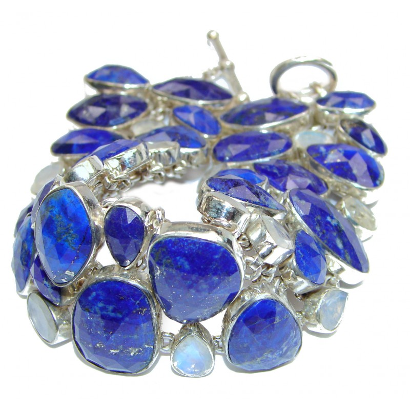 Chic Blue Waves Lapis Lazuli Moonstone .925 Sterling Silver handcrafted Bracelet