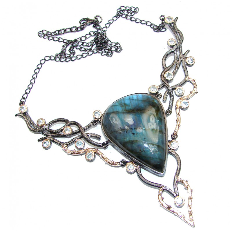 Authentic Fire Labradorite oxidized 18K Gold over .925 Sterling Silver entirely handcrafted necklace