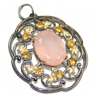 Authentic best quality Rose Quartz Rose Gold over .925 Sterling Silver handcrafted Pendant