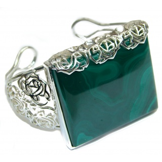 Floral Design Natural Malachite Oxidized .925 Sterling Silver handcrafted Bracelet / Cuff
