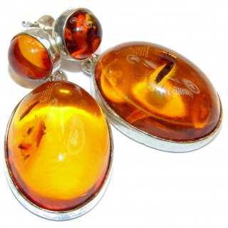 Back to Nature Authentic LARGE Amber .925 Sterling Silver handmade earrings